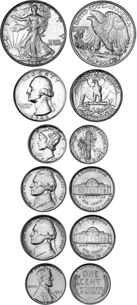 goldberg coins and collectibles 1965 Proof Set 6 piece original proof set pcgs graded cent pr 64 rd nickels type 1 type 2 both pf 67 dime quarter half are all pr 67 all very nice ex les