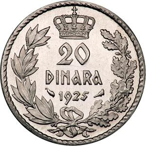 20 dinara 1925, otkov u platini - kronologija 75043N2