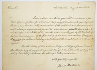 Goldberg coins and collectibles madison james 1751 1786 4th president of the united states 1809 1817 letter signed one page 9 x 8 in montpellier aug 10 1833 altavistaventures Gallery