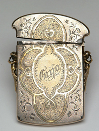 Goldberg coins and collectibles vintage card holder vintage silver plate with partial gilt business card holder likely part of a chatelaine this ornamental piece features a decorative colourmoves Gallery