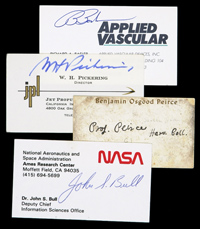 Goldberg coins and collectibles lot of eight signed business cards from american scientists including nasa employees john bull george stoner and robert frosch with mathematician colourmoves